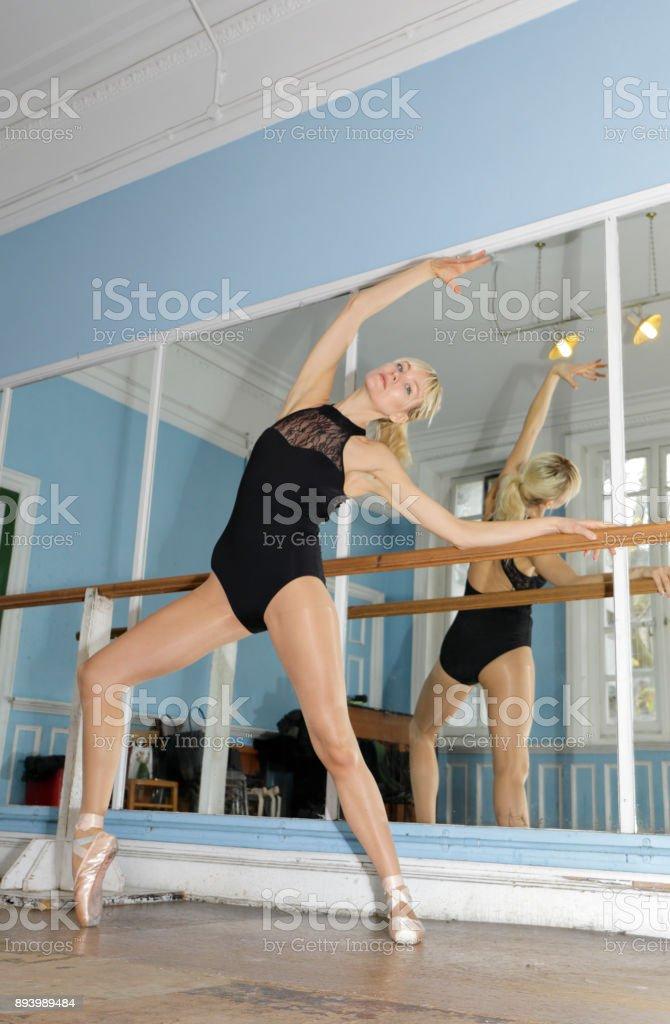 Danish ballerina exercising en pointe in ballet practise London stock photo