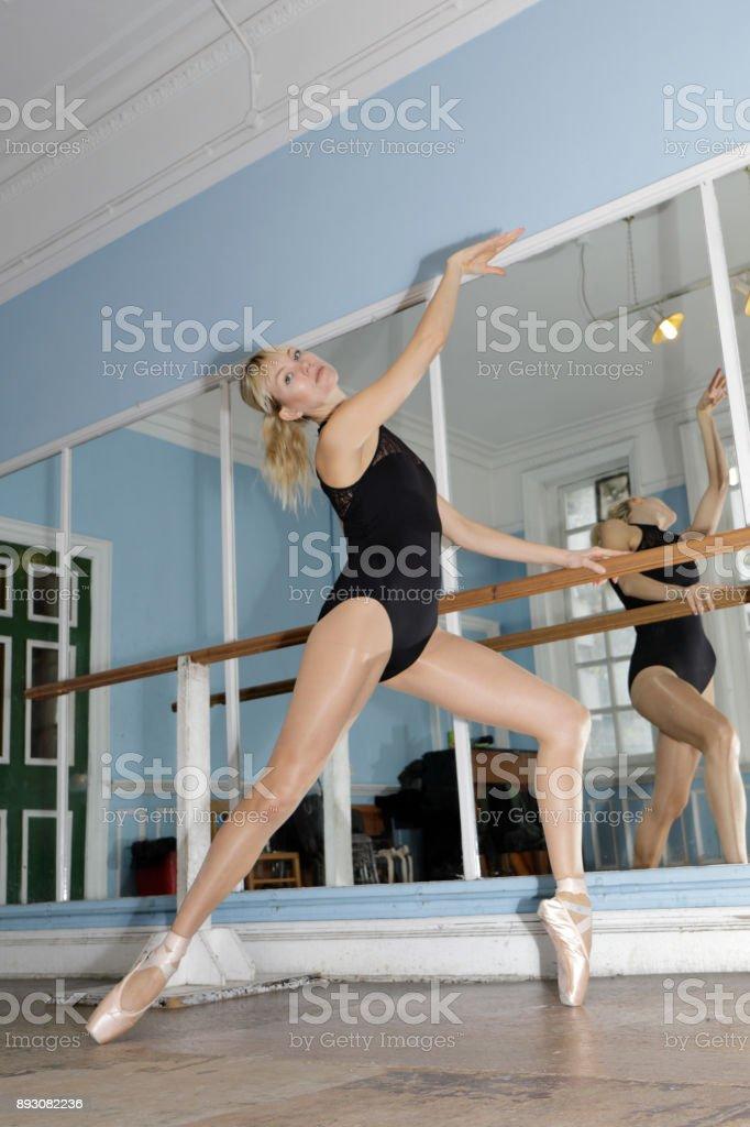 Danish ballerina exercising en pointe in ballet practise stock photo