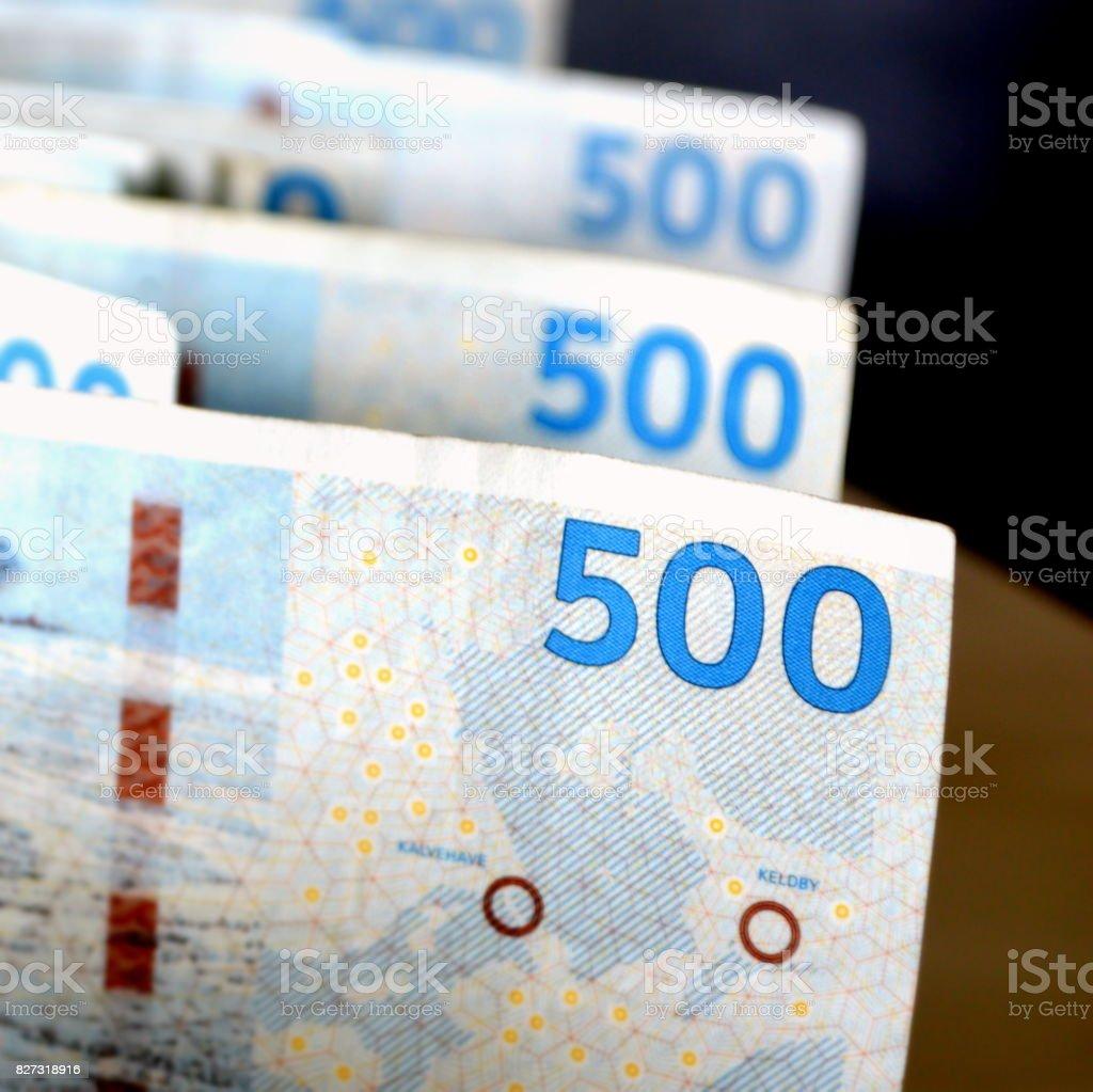 Danish banknotes stock photo