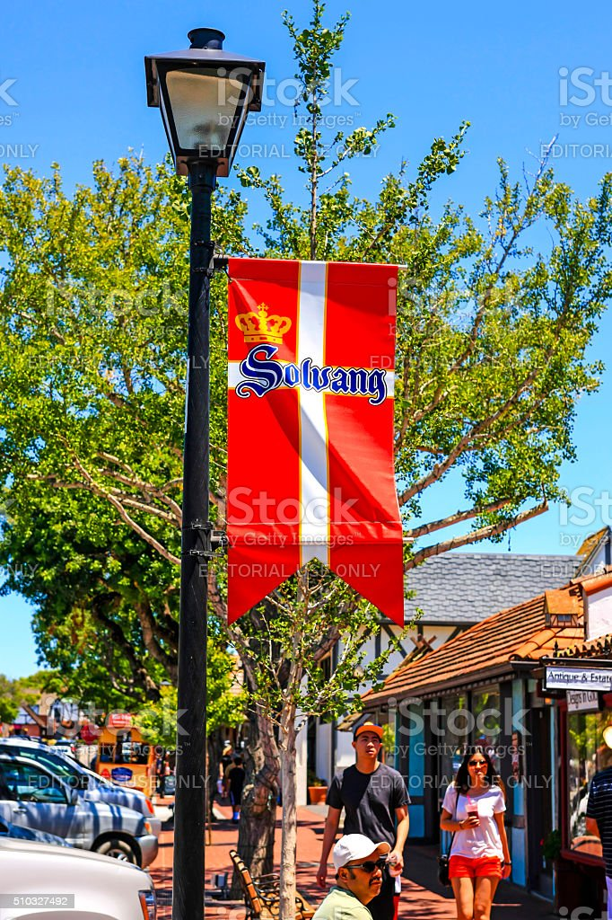 Danish banner in Solvang stock photo