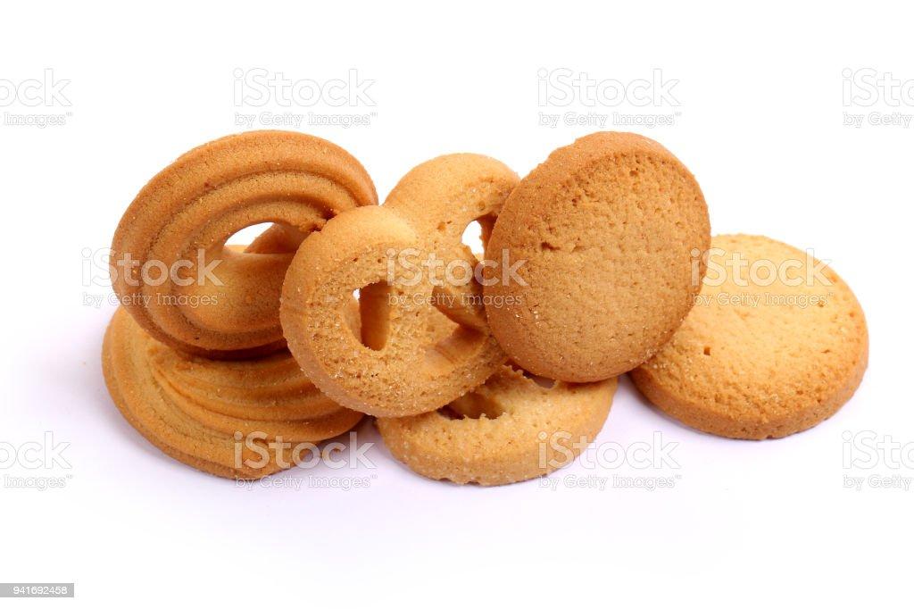 Dinamarquesa biscoitos de manteiga, manteiga biscoitos em branco - foto de acervo