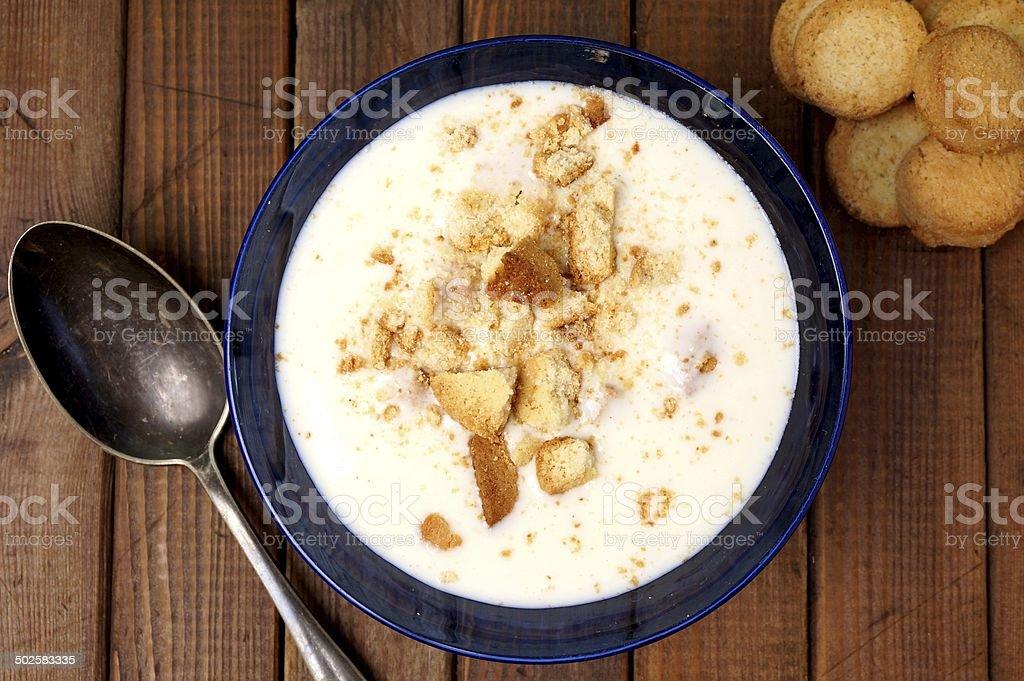 Danish buttermilk soup. Koldskål stock photo