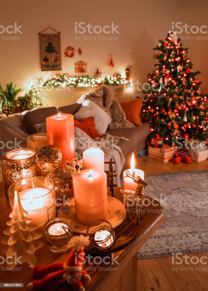 Danish Christmas Livingroom with Traditional Decorations royalty-free stock photo