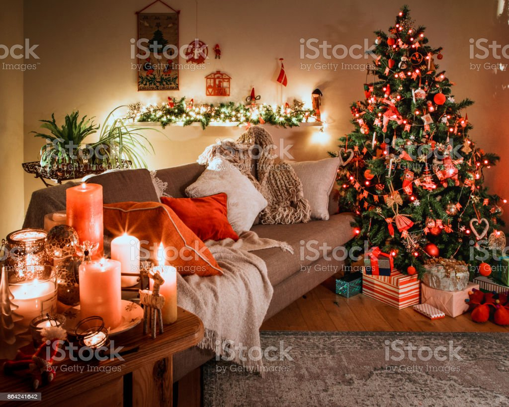 Danish Christmas Tree With Traditional Decorations Stock