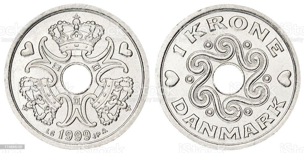 Danish coin on white background stock photo