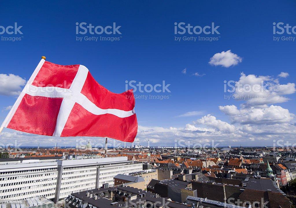 Danish flag and Copenhagen royalty-free stock photo