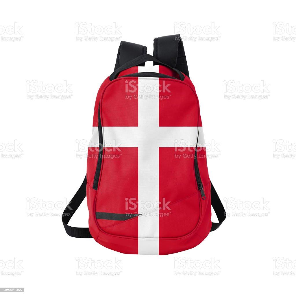 Danish flag backpack isolated on white w/ path stock photo
