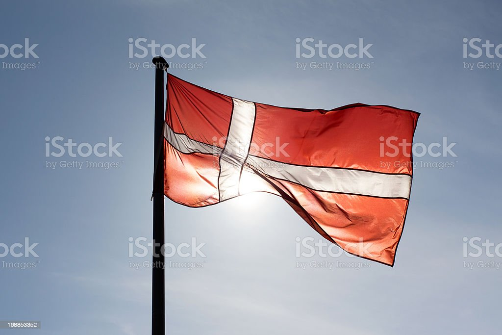 Danish flag in the sun royalty-free stock photo