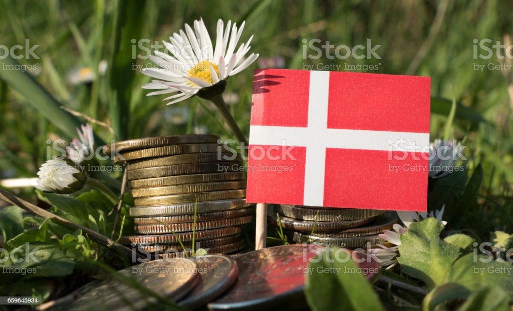 Danish flag with stack of money coins with grass and flowers stock photo