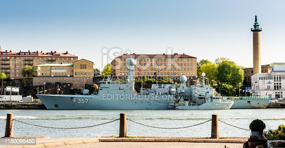 Gothenburg, Sweden - April 29 2019: Danish frigate F357 Thetis and HDMS MSF1 at port in Gothenburg.
