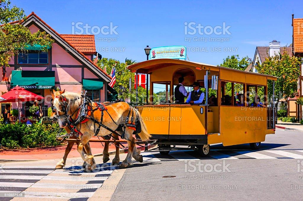 Danish horse-drawn street car in Solvang CA stock photo