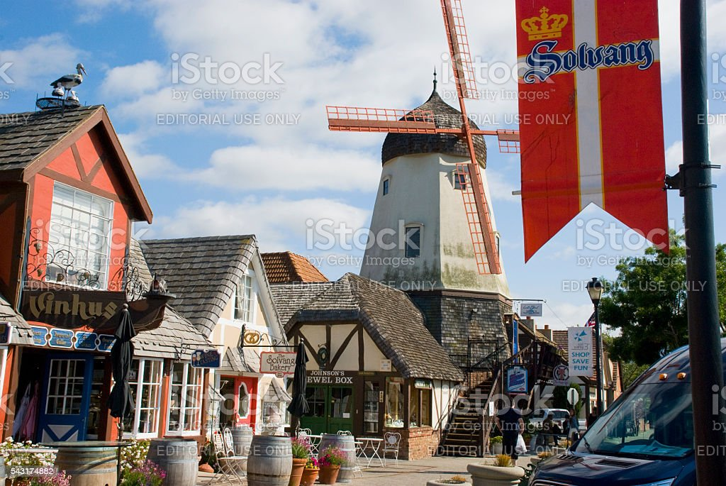 Danish houses and windmill in city of Solvang, California stock photo