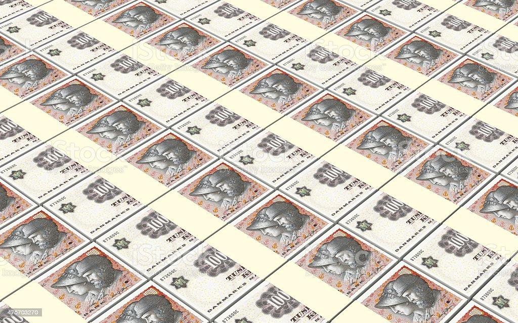 Danish krone bills stacks background. stock photo