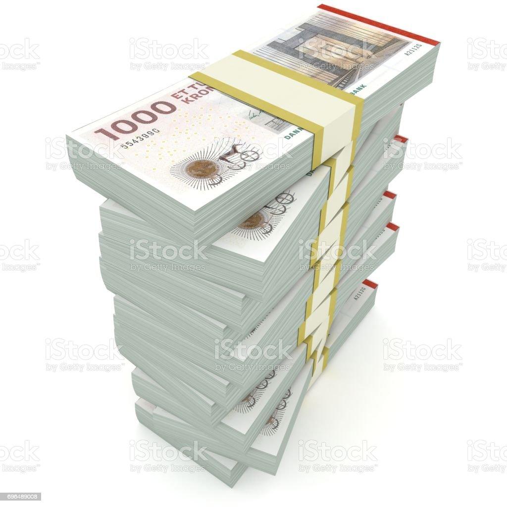 Danish krone money banknotes stack isolated stock photo