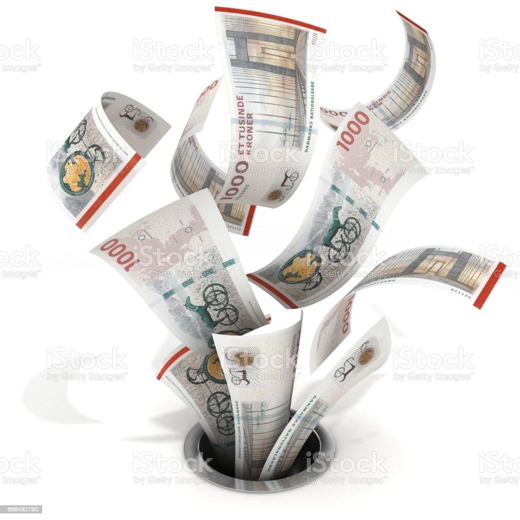 Danish krone money down the drain stock photo