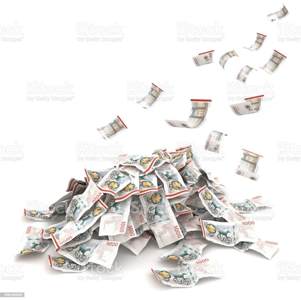 Danish krone money fliyng falling stock photo