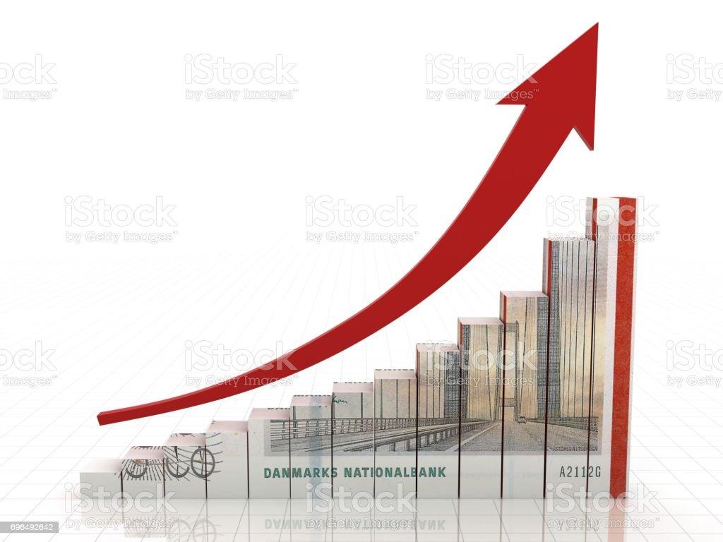 Danish krone money growth chart graph concept stock photo