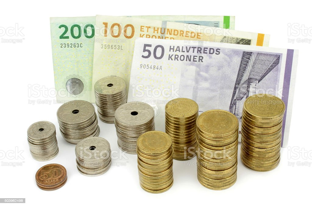 Danish kroner, coins and banknotes stock photo
