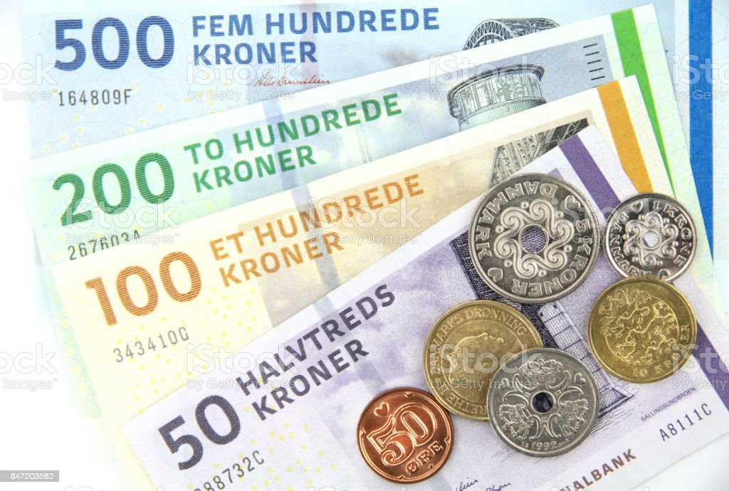 Danish kroner ( DKK ), coins and banknotes stock photo