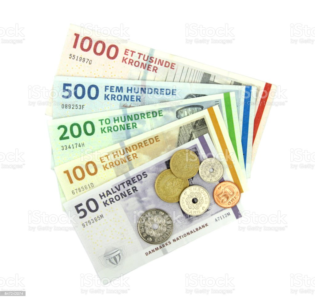 Danish kroner ( DKK ), coins and banknotes. stock photo