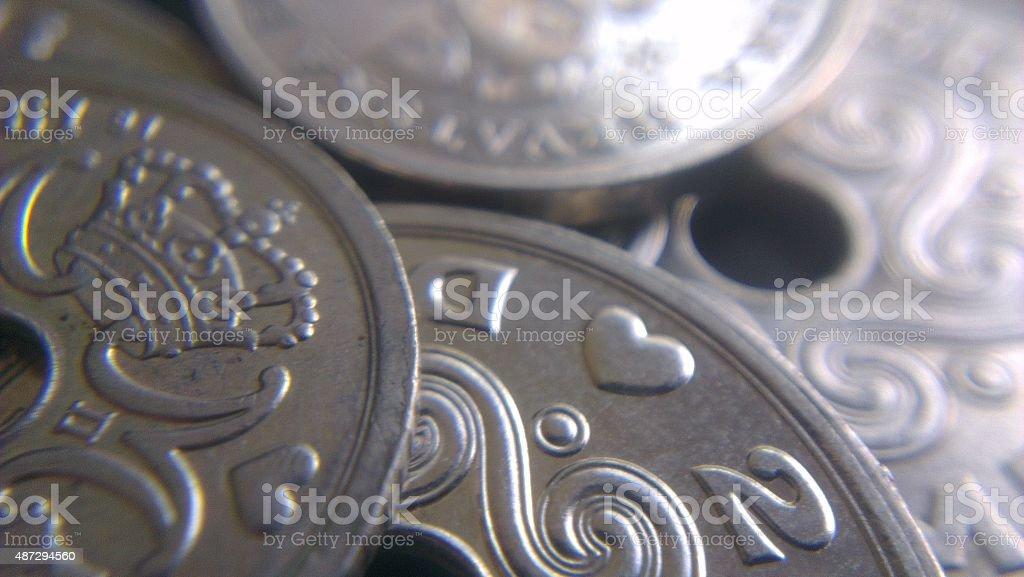 Danish kroner coins stock photo