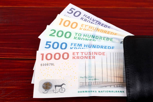 Dänischer Kronen im schwarzen Portemonnaie – Foto