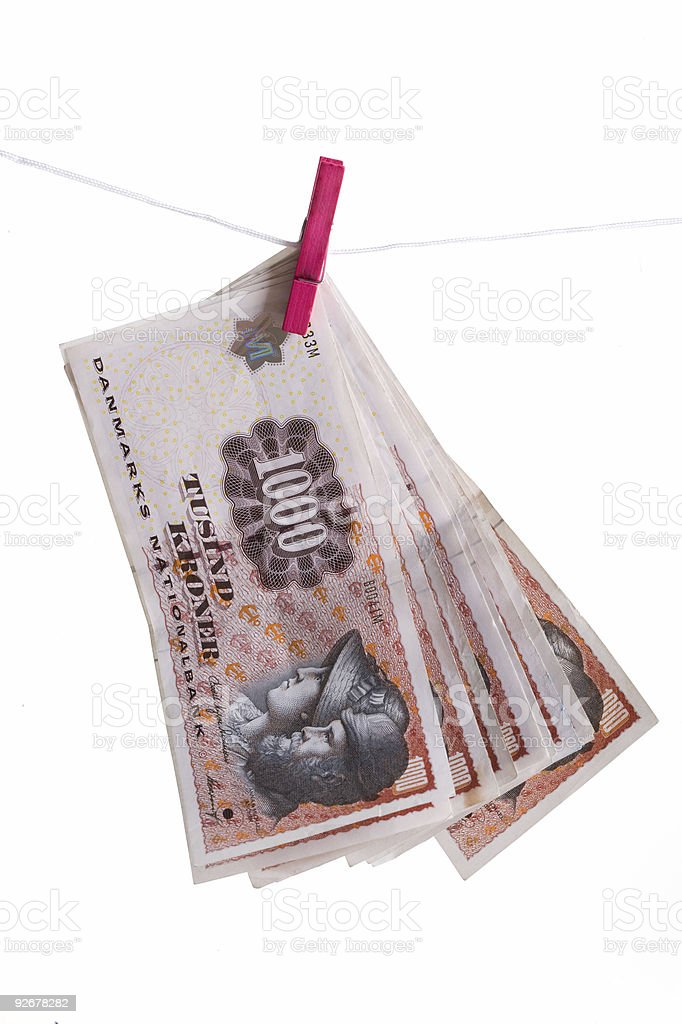 Danish money hanging on clothesline royalty-free stock photo