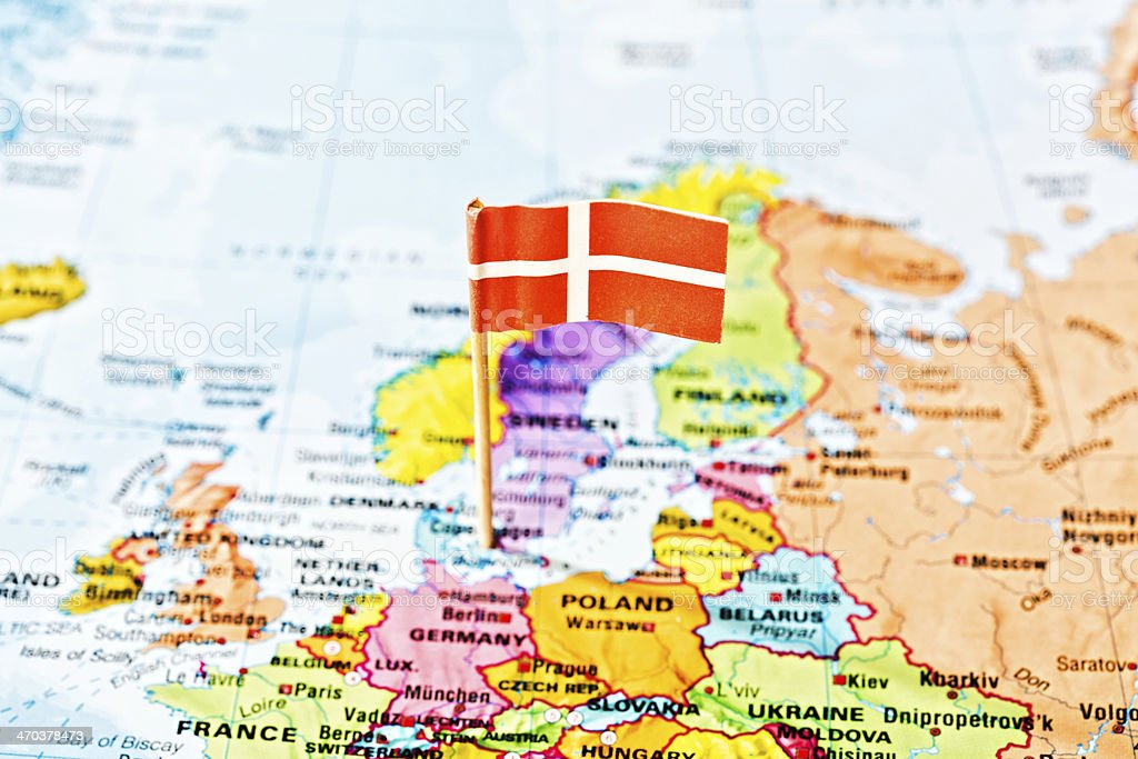 Danish National Flag Marking Denmark On Map Of Europe Stock Photo ...