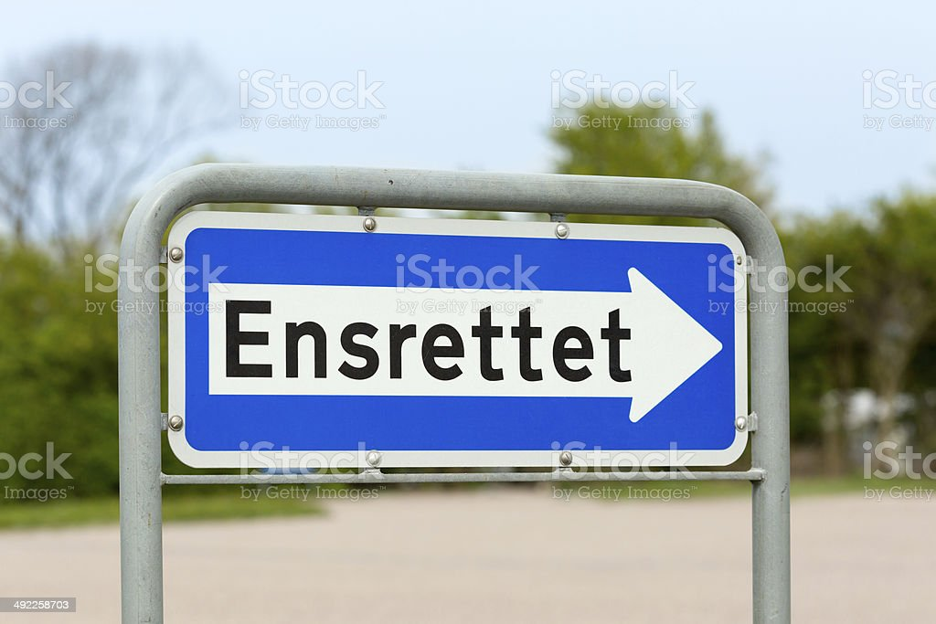 Danish one-way road sign stock photo