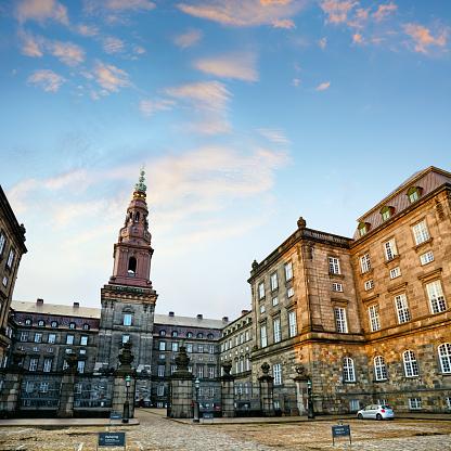 Christiansborg Palace is the seat of the Danish Parliament, Copenhagen, Denmark