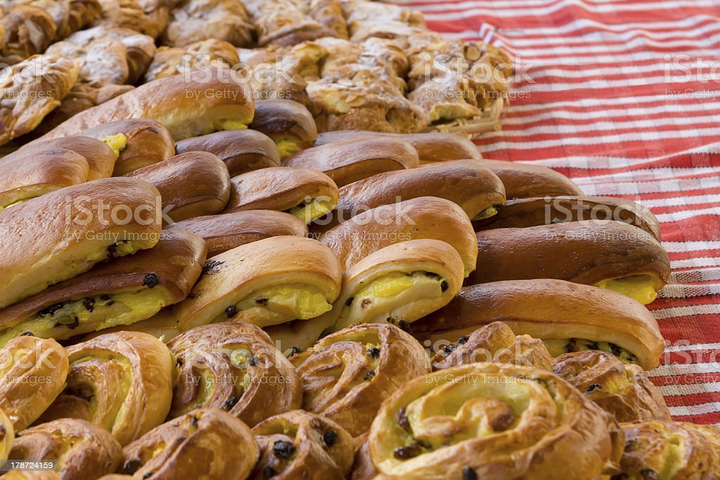 Danish pastry on the market royalty-free stock photo