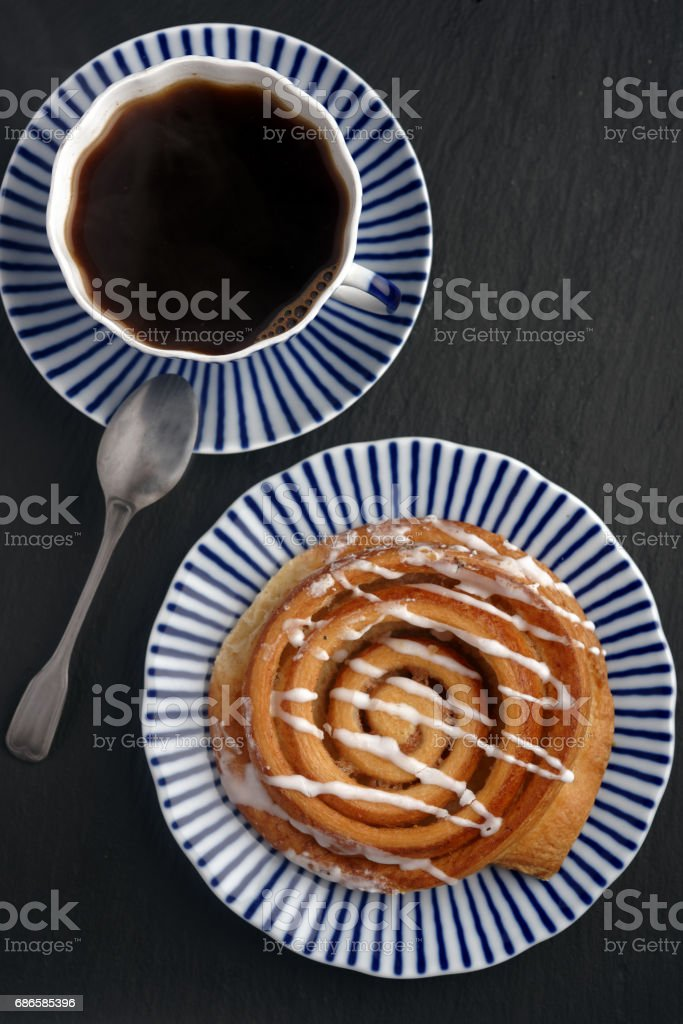 Danish pastry with coffee royalty-free stock photo