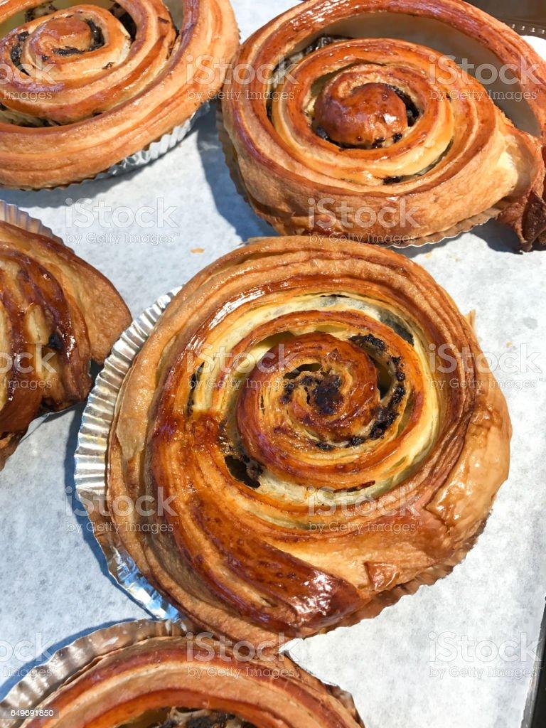 Danish raisin roll stock photo