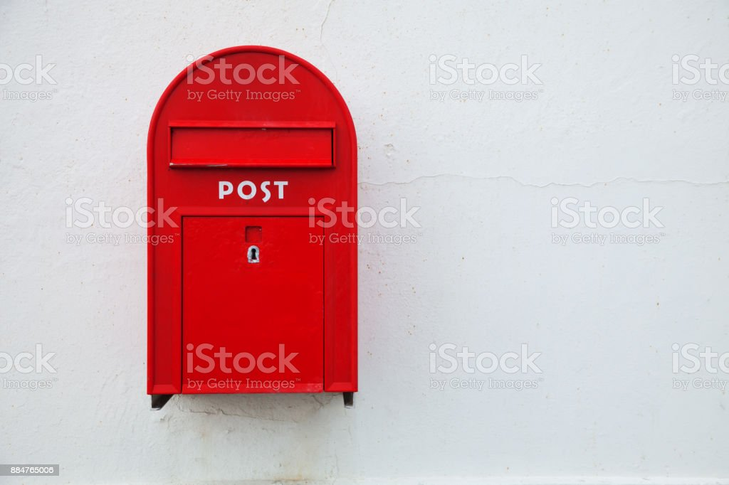 Danish red mailbox on the wall stock photo