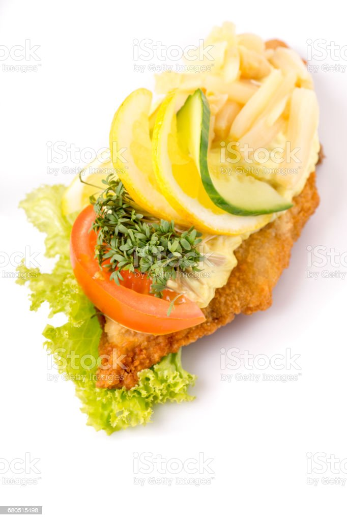 Danish specialties and national dishes, high-quality open sandwich stock photo