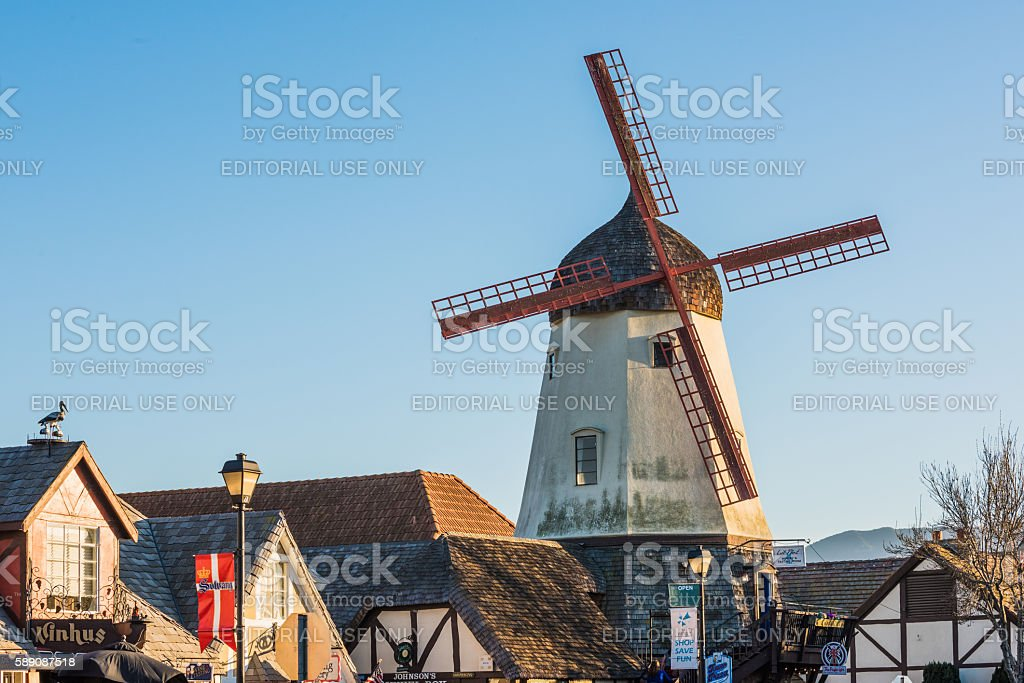 Danish windmill houses in a tourist town in Solvang California stock photo