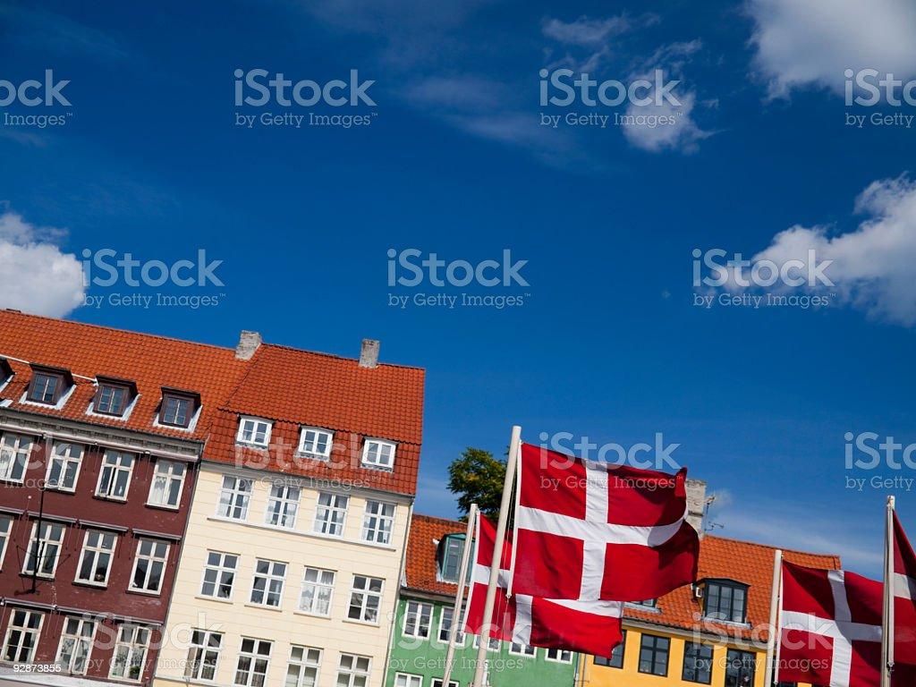 Dannebrog in Nyhavn, Copehagen royalty-free stock photo