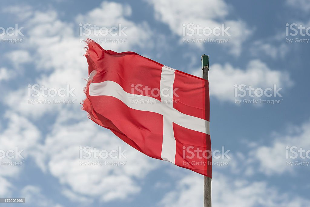 Dannebrog with the sky as background royalty-free stock photo