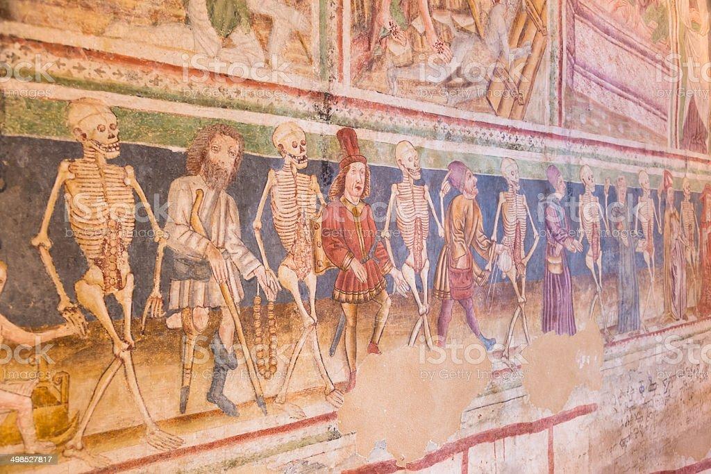 Danse Macabre fresco, Hrastovlje, Slovenia. stock photo