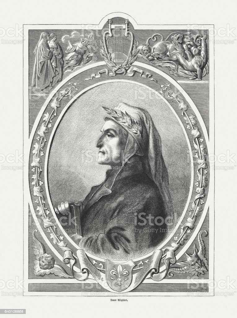 Dante Alighieri (1265-1321), Italian poet, steel engraving, published in 1865 stock photo