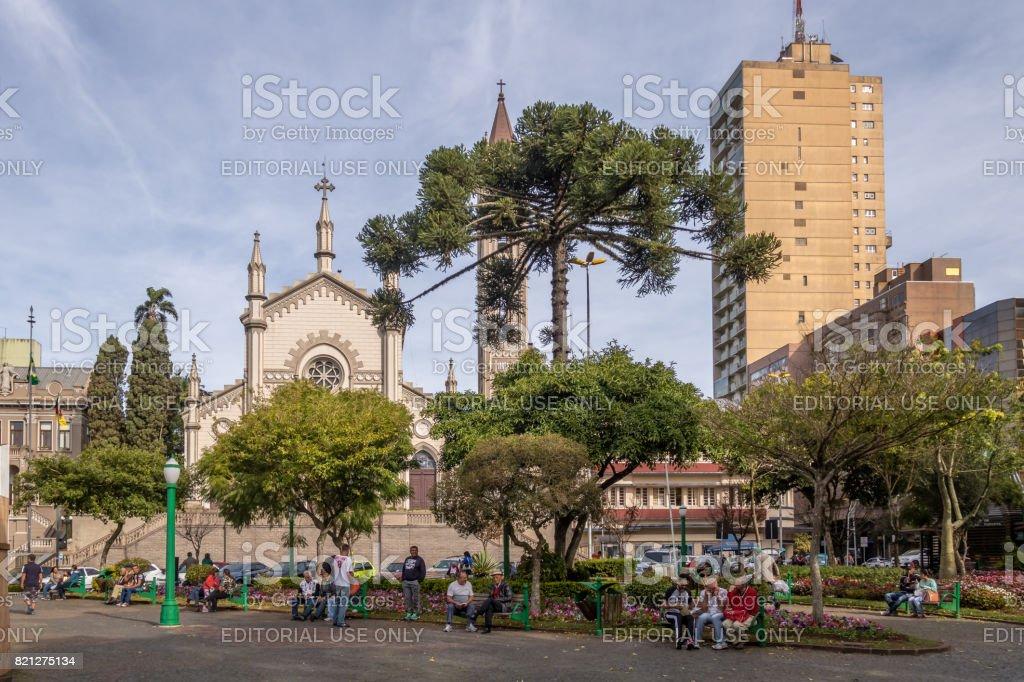 Dante Alighieri Square and Santa Teresa D'Avila Cathedral - Caxias do Sul, Rio Grande do Sul, Brazil stock photo