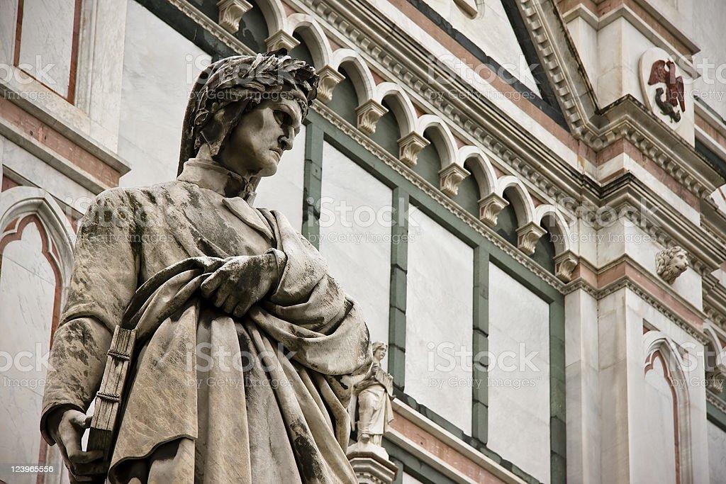 Dante Alighieri Statue and Santa Croce Facade in Firenze stock photo