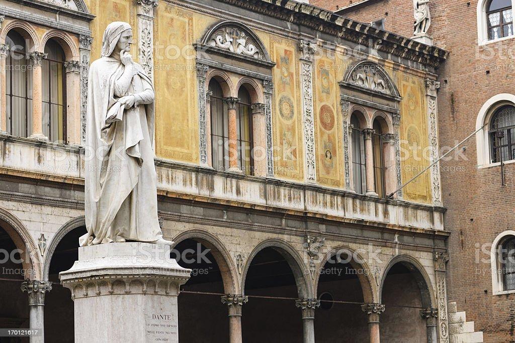 Dante Alighieri Statue at Piazza dei Signori in Verona stock photo