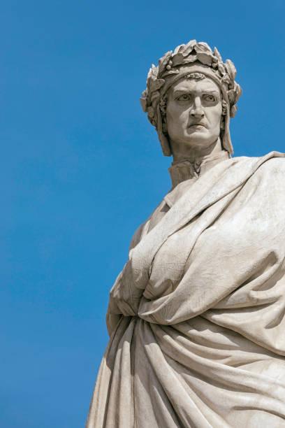 dante alighieri statue in florence - dante alighieri foto e immagini stock
