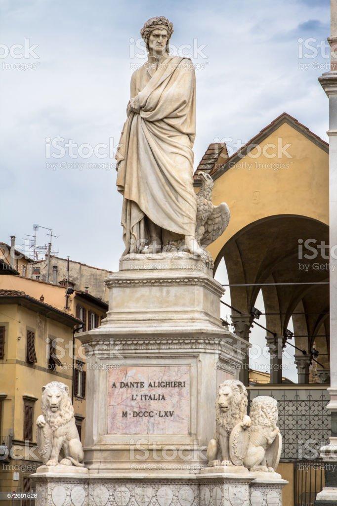 Dante Alighieri statue in Santa Croce square in Florence, Italy stock photo