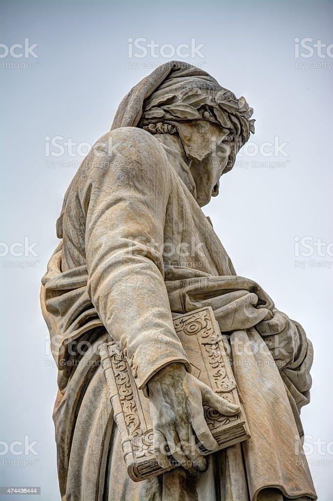 Dante Alighieri statue in Santa Croce square stock photo