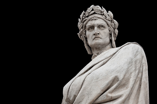 Dante Alighieri statue, on black background (path selection included)