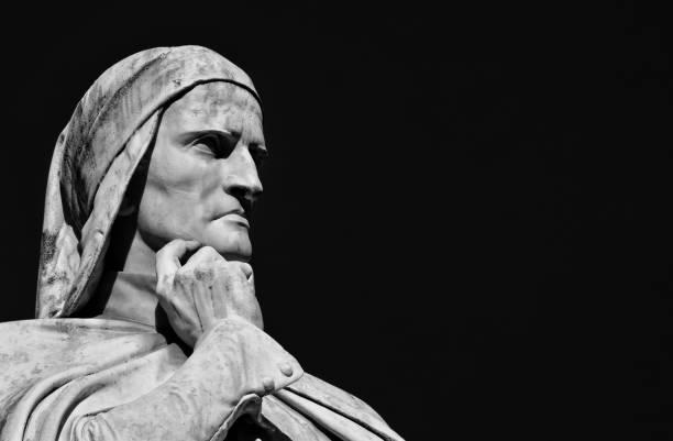 dante alighieri the greatest italian poet (black and white with copy space) - dante alighieri foto e immagini stock