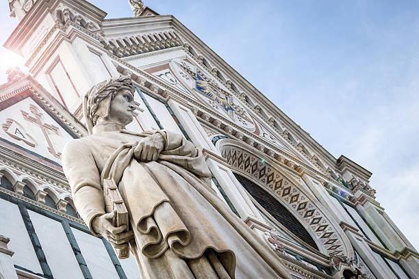 dante alighieri di statua, basilica di santa croce, firenze - dante alighieri foto e immagini stock