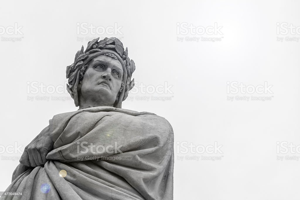 Dante Alighieri's Statue in Florence stock photo
